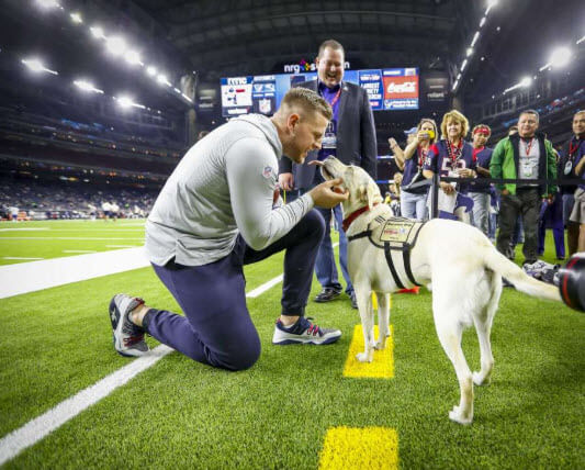 jj watt gets kiss from Sully the Bush's service dog